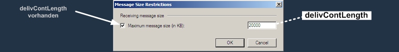 E2K7 Kontakt Attribute : Message Size Restriction Dialog